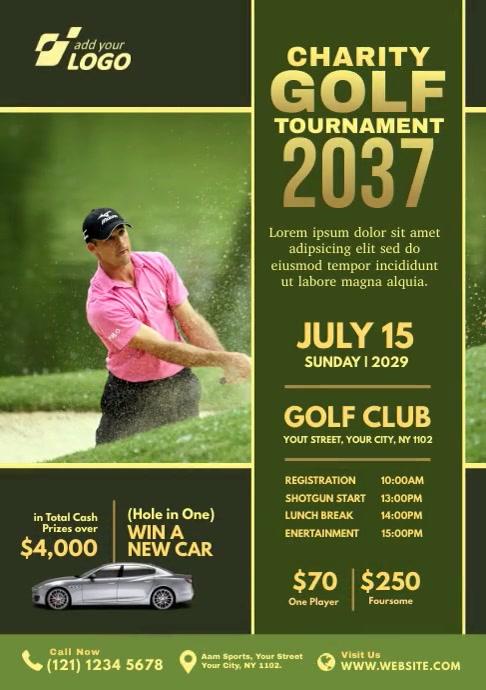 Charity Golf Tournament A4 template
