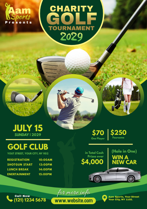 Charity Golf Tournament Flyer A4 template