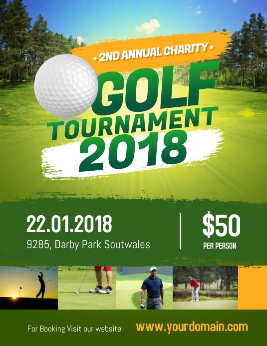 charity golf tournament flyer poster template