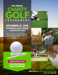 Charity Golf Tournament Flyer Template ใบปลิว (US Letter)