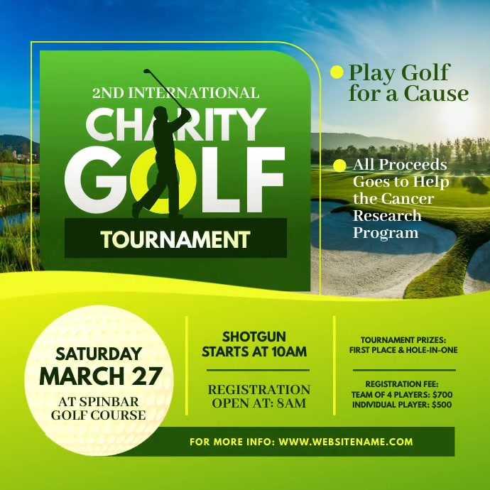 Charity Golf Tournament Instagram Video Post Square (1:1) template