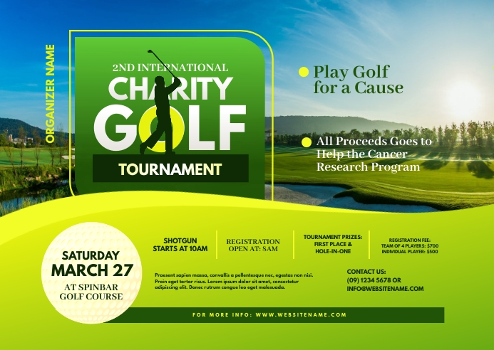 Charity Golf Tournament Postcard template