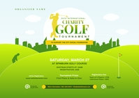 Charity Golf Tournament Postcard ไปรษณียบัตร template