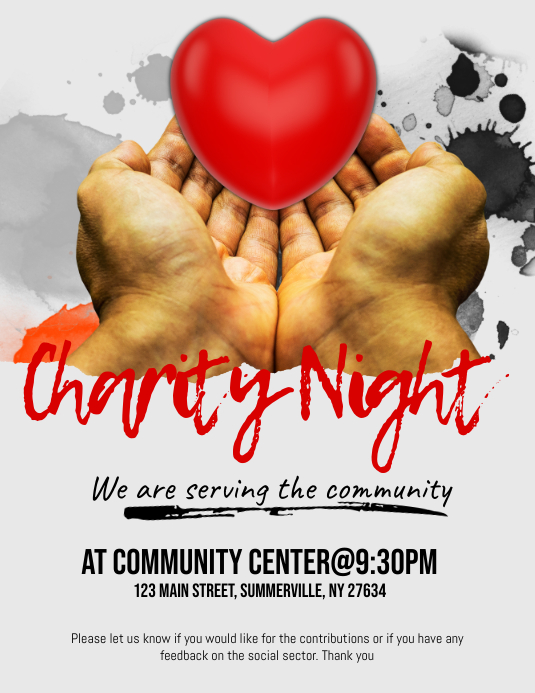 Charity Night Flyer Pamflet (Letter AS) template