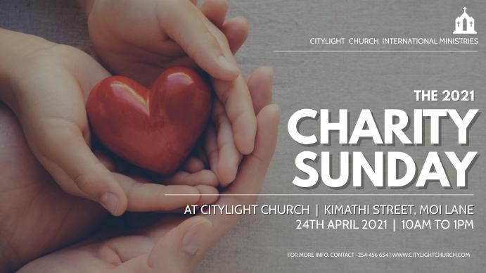 CHARITY SUNDAY church flyer Digitalt display (16:9) template