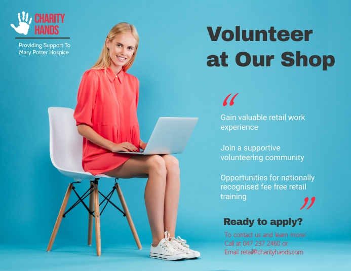 Charity Volunteering Opportunity Landscape Poster Flyer (US Letter) template