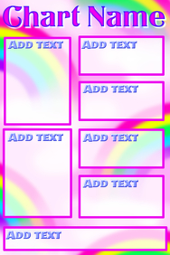 Chart with pink sky and rainbow background and pink frames