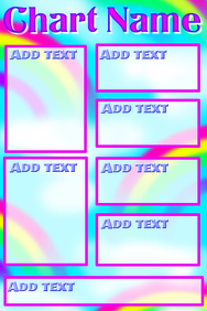 Chart with rainbow background and pink frames
