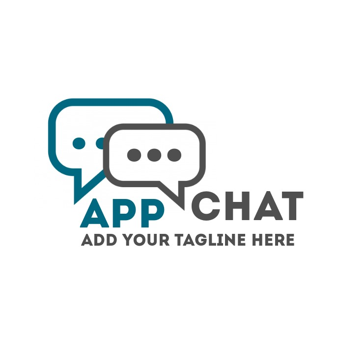 Chat app icon blue and grey