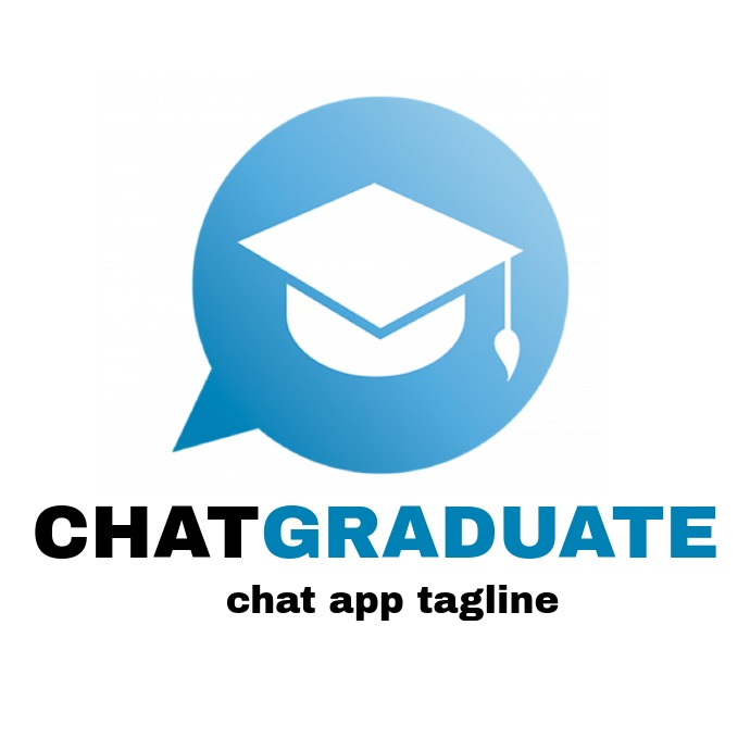 Chat graduate logo blue black and white color