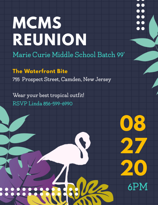Checkered School Reunion Party Flyer Pamflet (Letter AS) template