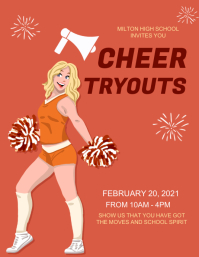 Cheerleader,event,sports,announcement Løbeseddel (US Letter) template