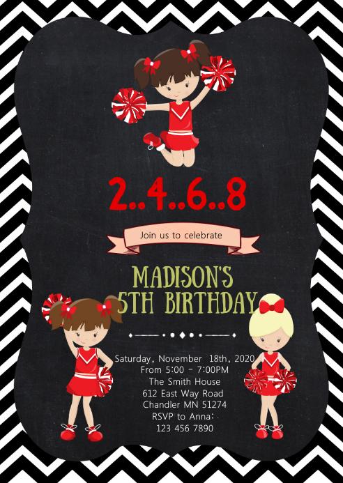 Cheerleader birthday party invitation A6 template