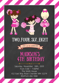 Cheerleader birthday party invitation A6 template
