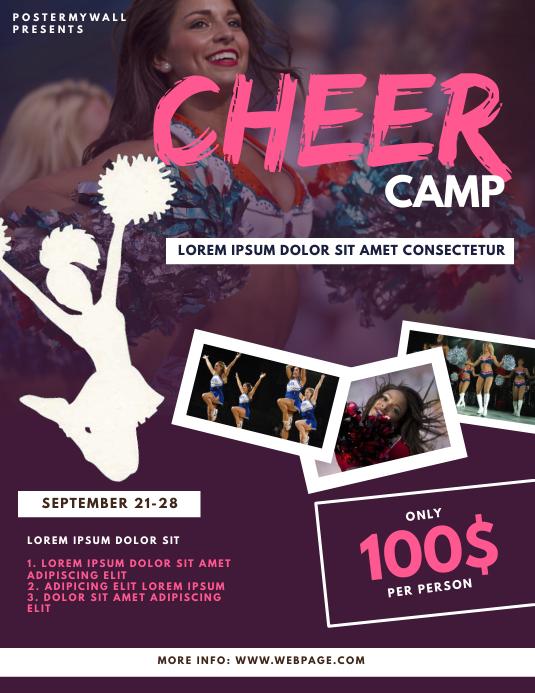 Cheerleader Camp Flyer Design Template Volantino (US Letter)