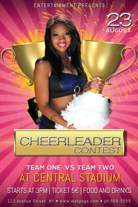 cheerleader contest event poster flyer template