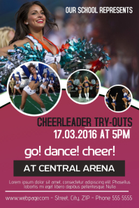 Cheerleader try-outs flyer template Poster