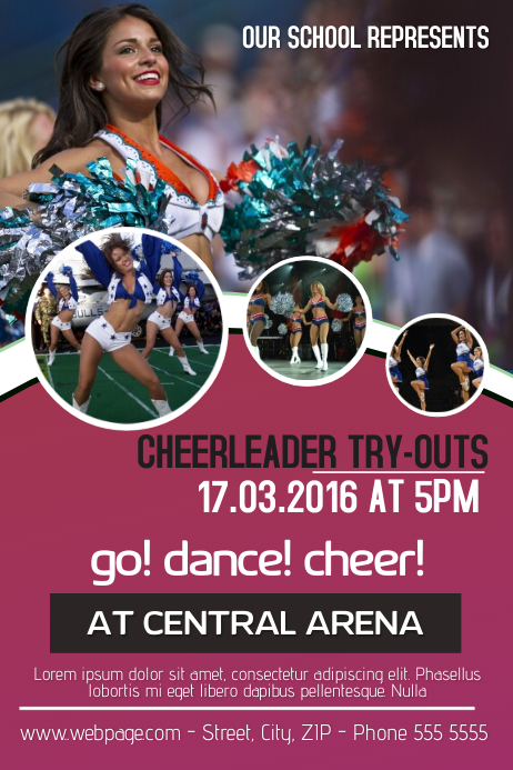 cheerleader try outs flyer template postermywall