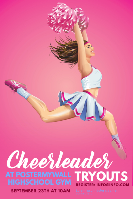 Cheerleader tryouts flyer Poster template