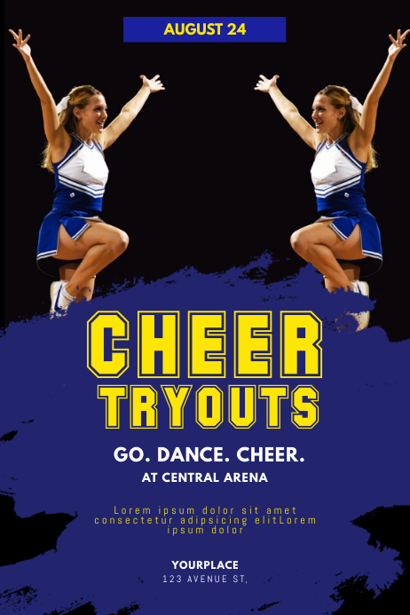 Cheerleader Tryouts Flyer Template 海报