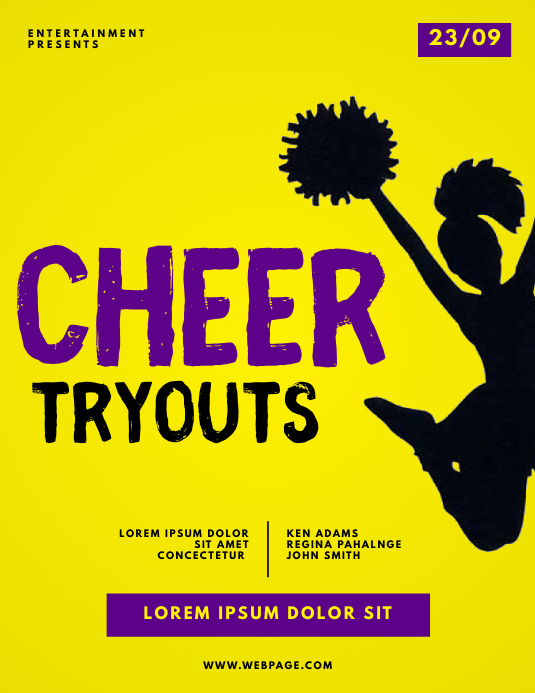 Cheerleader Tryouts Flyer Template ใบปลิว (US Letter)