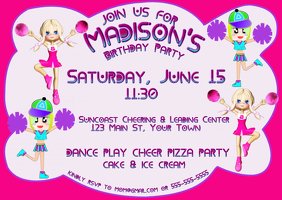 Cheerleading Birthday Invitation