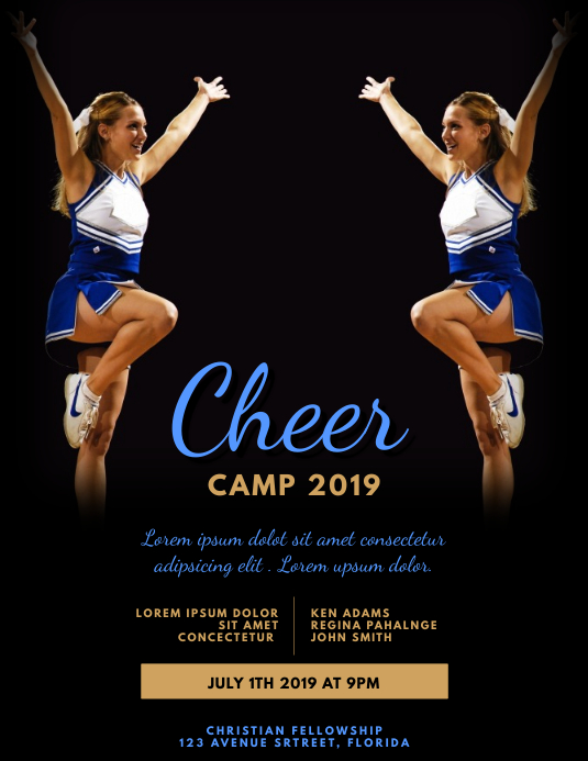 Cheerleading camp event flyer template