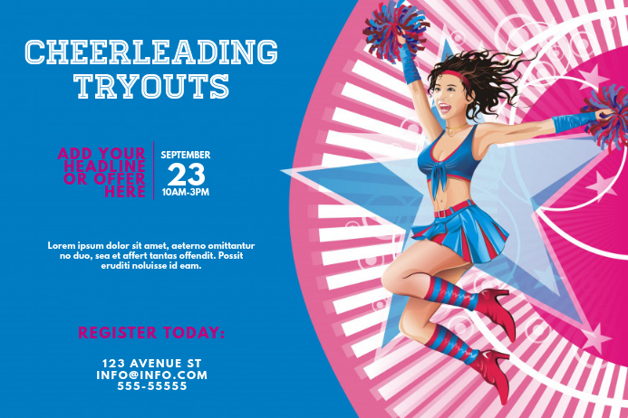 cheerleading tryouts event flyer template postermywall
