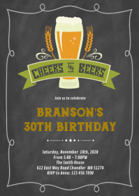 Cheers and beers birthday invitation A6 template