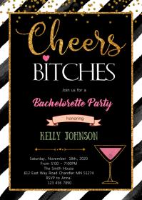 Cheers bitches bachelorette shower invite A6 template