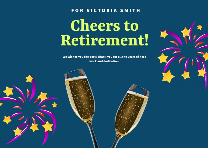Cheers To Retirement Invitation Card 明信片 template