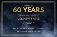 Cheers To The 60 Years Birthday Invitation Label template