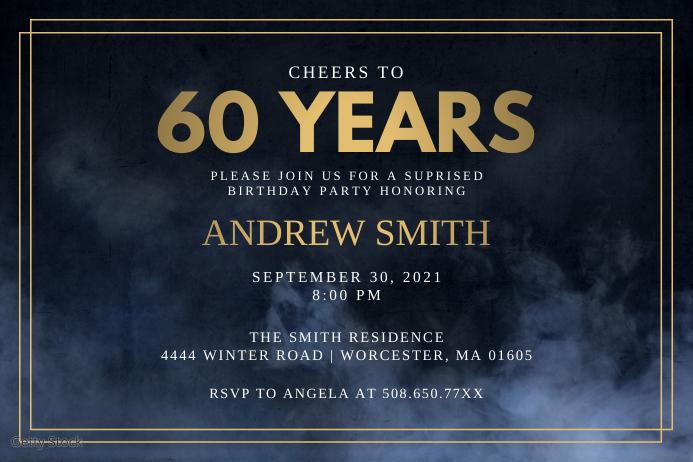 Cheers To The 60 Years Birthday Invitation Etiqueta template