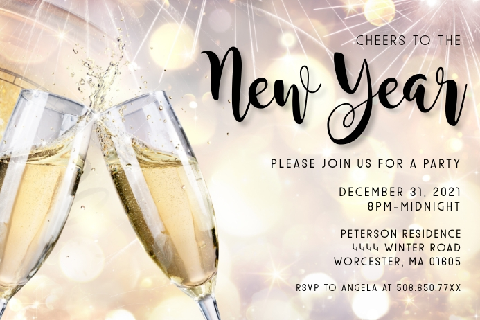 Cheers To The New Year Invitation Tatak template