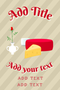 cheese & red rose in a vase - affineur fromager - poster template