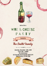 Cheese and wine party invitation A6 template
