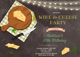 Cheese party invitation A6 template