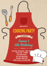 Chef cooking birthday card invitation