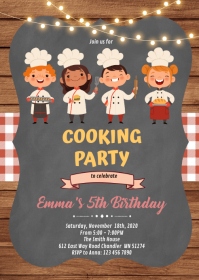 Chef cooking party birthday Invitation A6 template