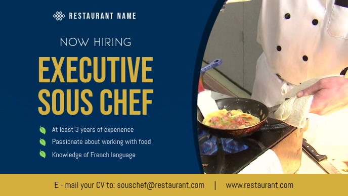 Chef Hiring Facebook Cover Video template