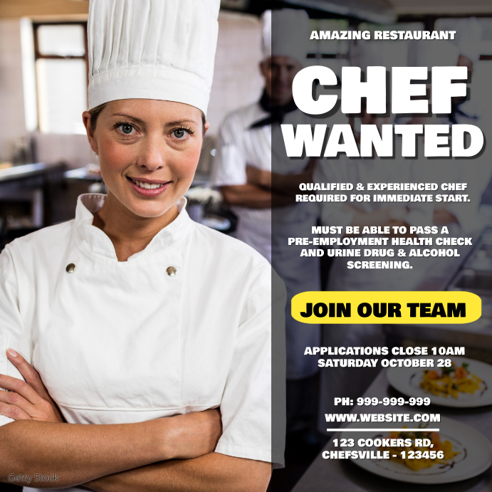 Chef Wanted Poster Iphosti le-Instagram template