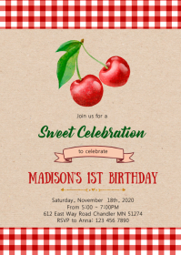 Cherry birthday party invitation