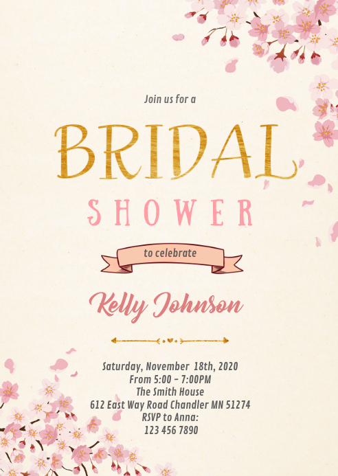 Cherry blossom sakura shower invitation A6 template