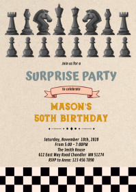 Chess Birthday Invitation A6 template