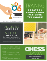 Chess Classes - Think Different Pamflet (Letter AS) template