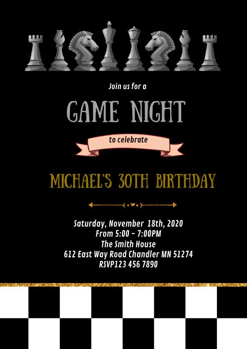 Chess game night birthday party invitation