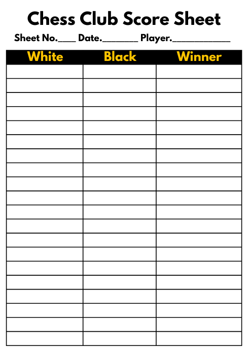 Chess Game Score Sheet Printable Template A4