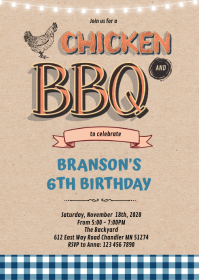 Chicken and bbq dinner party invitation A6 template