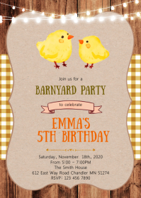 Chicken birthday party invitation