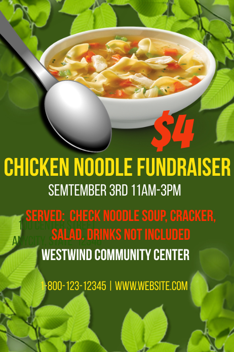 chicken noodle soup fundraiser template postermywall